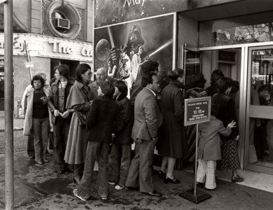 Vintage: People Waiting in Line for Star Wars (1977)