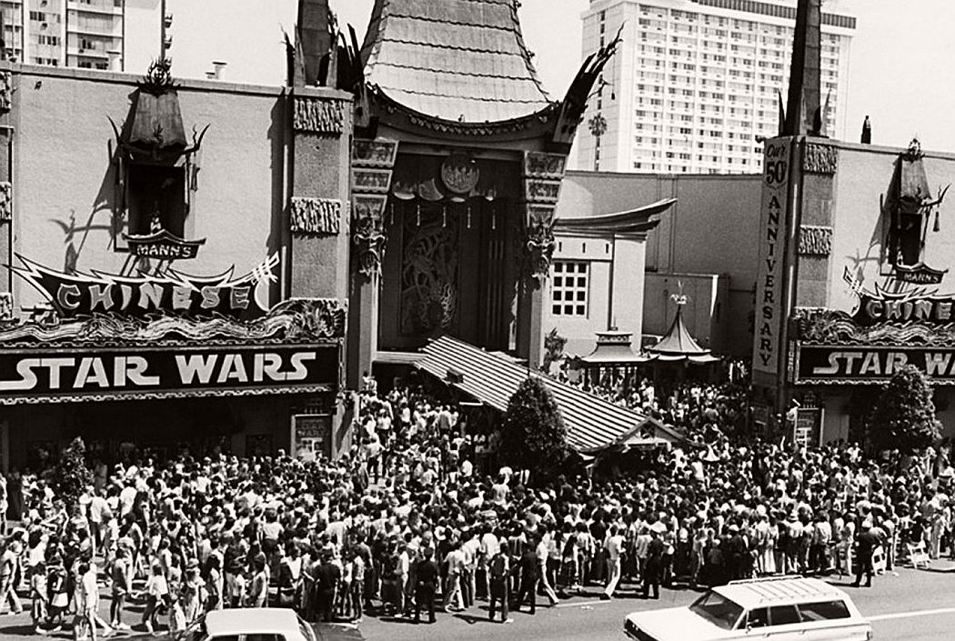 """Crowds flocked to see """"Star Wars"""" during its opening weekend in May 1977. This was the scene outside Mann's Chinese Theatre in Hollywood. (AP Photo)"""