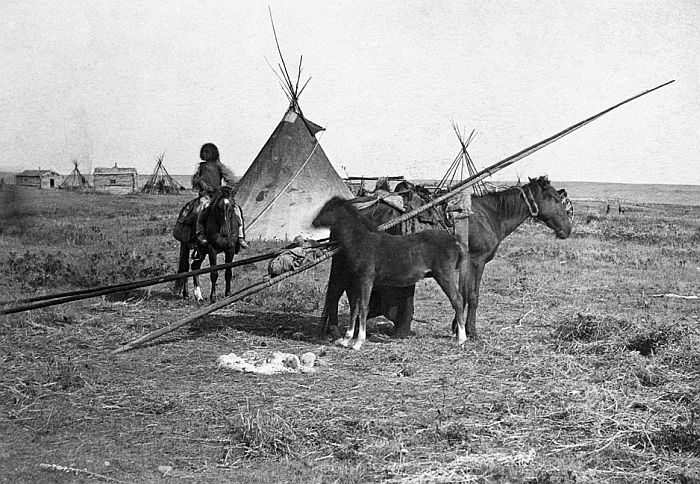 First Nations camp near first Hudson's Bay Company store at Fort Calgary, Alberta, 1886