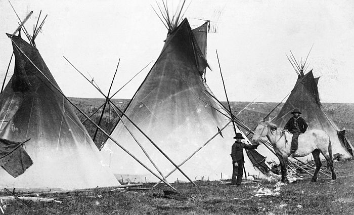 Sarcee camp west of Calgary, ca. 1886-89