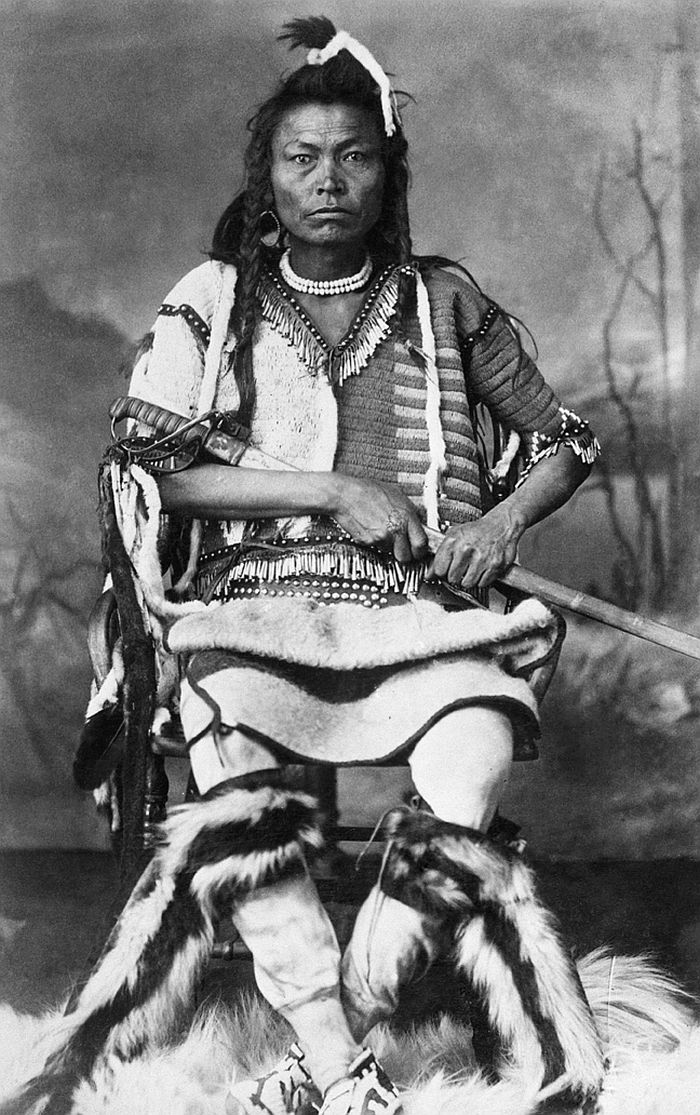Blackfoot warrior with sword, 1887