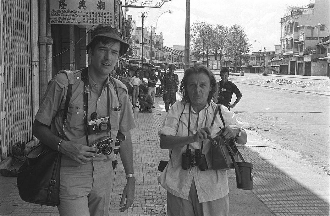 Clare Hollingworth with life photographer Tim Page, Saigon, June 1968