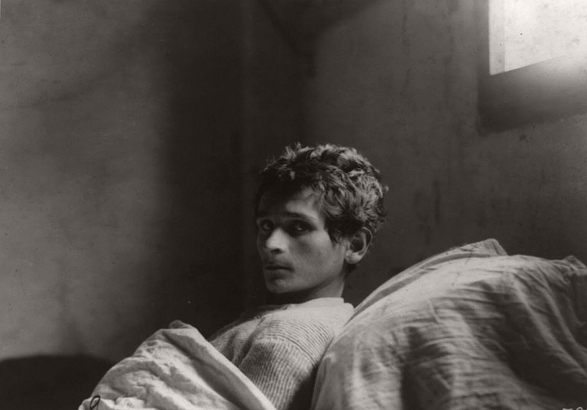 Guiseppe Uggesi, an Italian soldier in 223rd Infantry, who was in an Austrian Prison Camp at Milowitz, confined to bed with tuberculosis in January of 1919. # Library of Congress