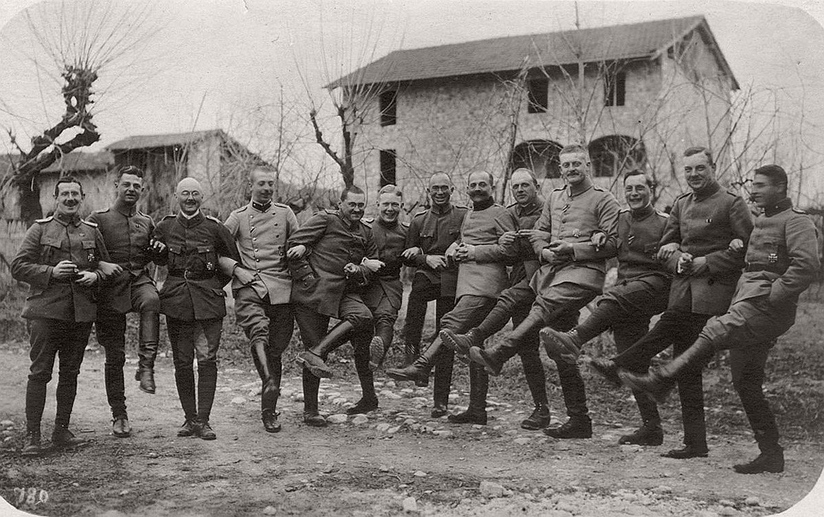 The Kaiser's Birthday. German officers during the Kaiser's birthday celebrations in Rauscedo, Italy, on January 27, 1918. # CC BY-SA Carola Eugster