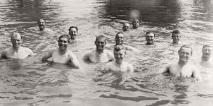Vintage: Soldiers Swimming and Playing in the Water during World War I