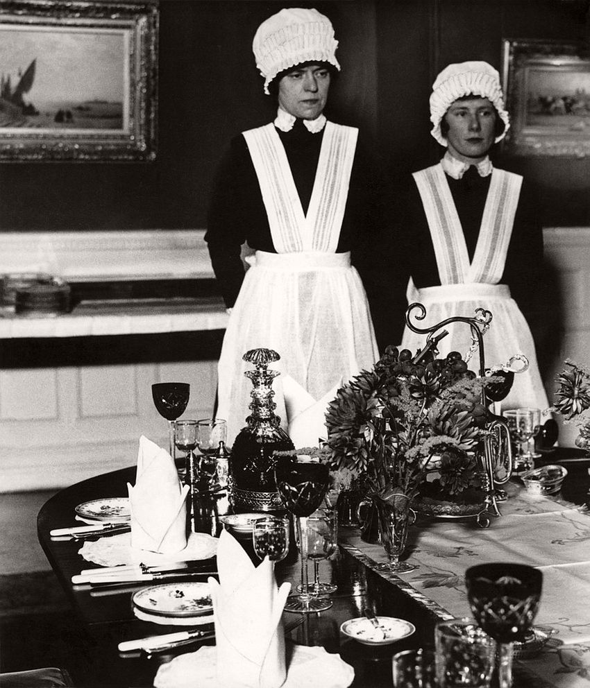 Parlourmaid and Underparlourmaid Ready to Dinner, London, 1933.