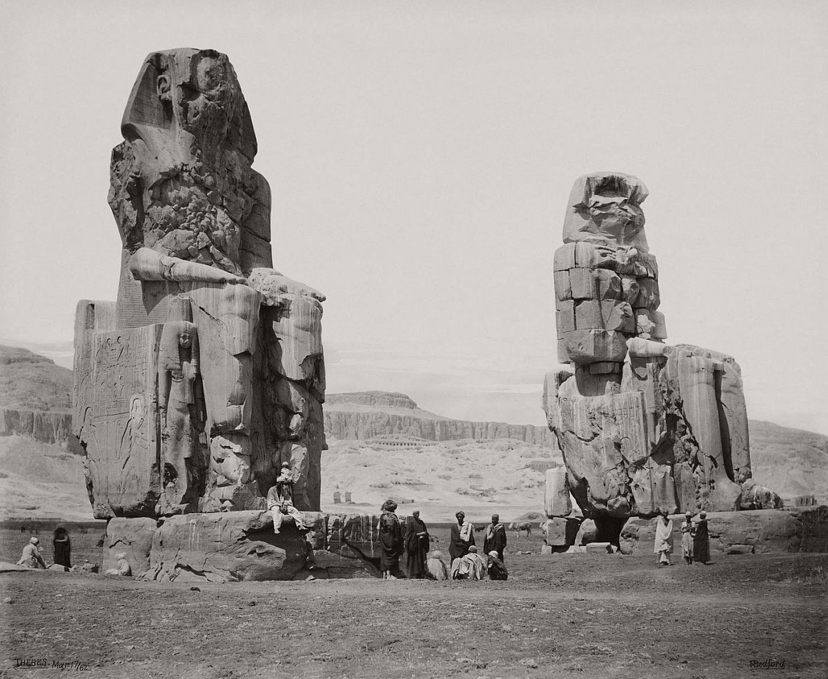 Francis Bedford (1815-94) (photographer) The Colossi on the plain of Thebes [Colossi of Memnon] 17 Mar 1862