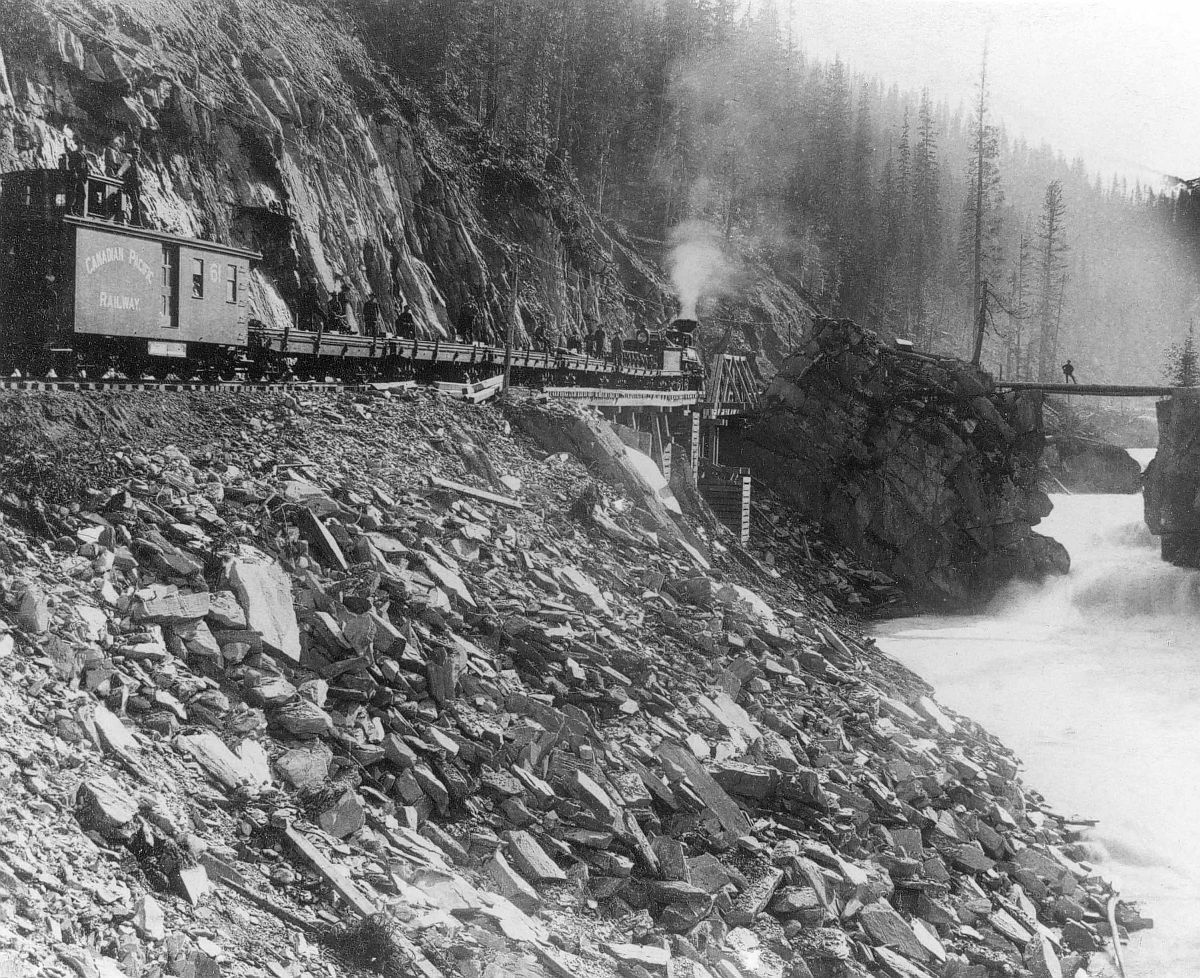 Canadian Pacific Railway freight train at Devil's Gate, Beaver Canyon, British Columbia. Date: [ca. 1880s]