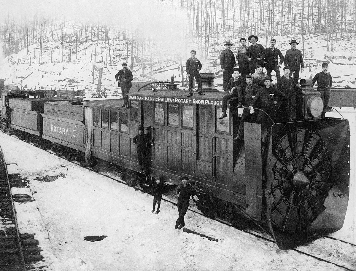 Canadian Pacific Railway rotary snow plough, Rogers Pass, British Columbia. Date: [ca. 1887-1889]