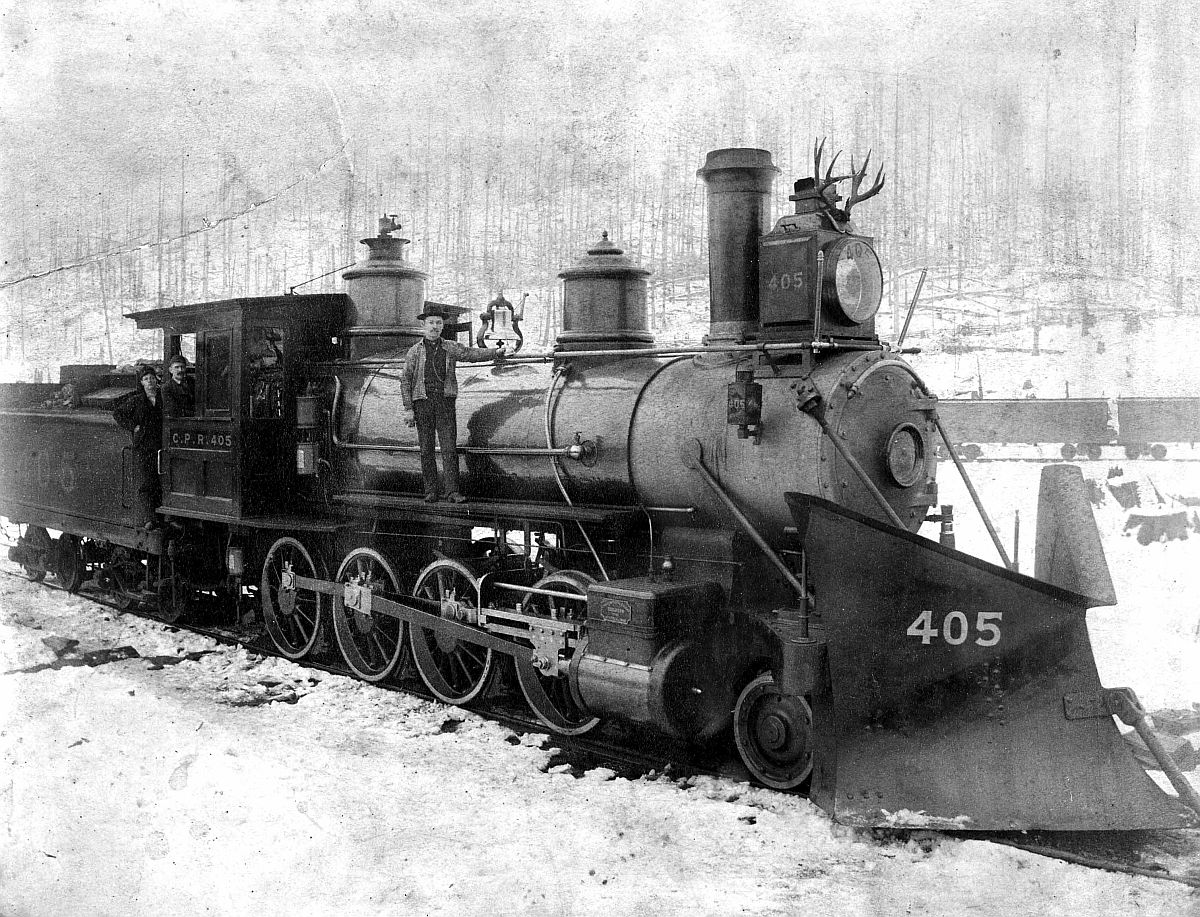 Canadian Pacific Railway locomotive, Rogers Pass, British Columbia. Date: [ca. 1887-1889]