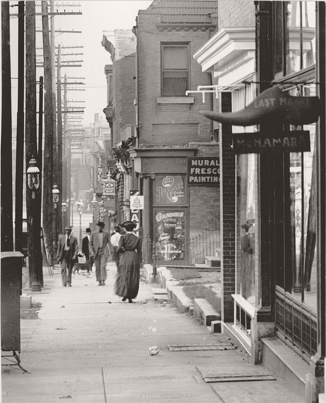 Sidewalk on the 3500 block of Olive Street, 1907