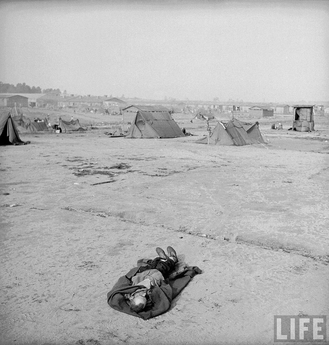 Body of a dead inmate of the Bergen Belsen concentration camp shortly after the liberation of the camp by Allied troops.