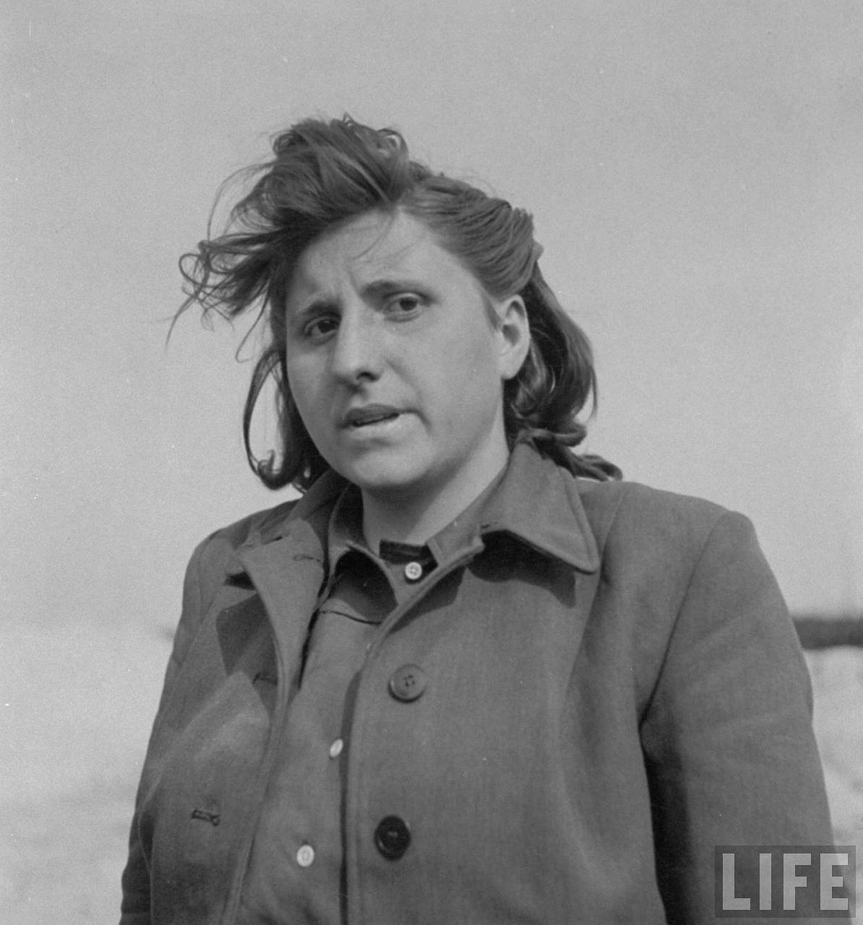 Portrait of Magdalene Kessal, 25, a domestic servant who served as SS girl at Bergen-Belsen concentration camp.