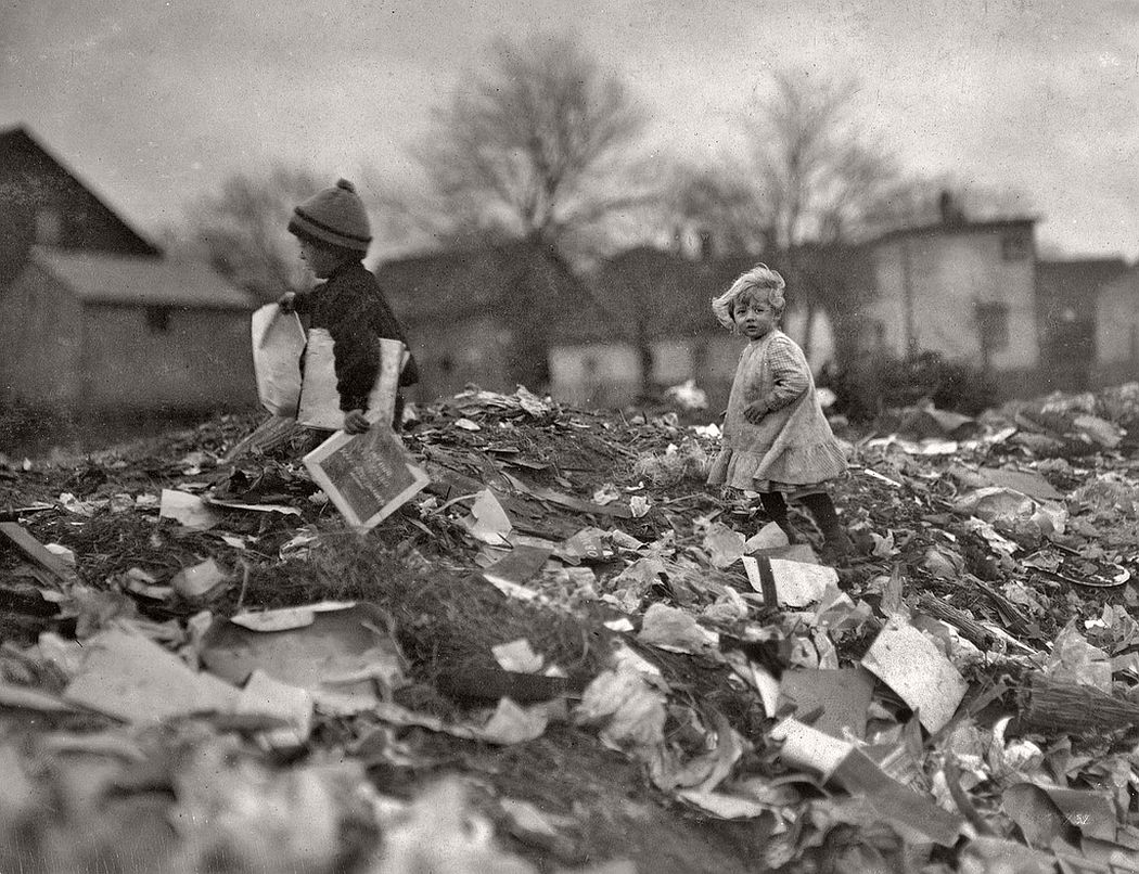 Children at Whitman Street dump, Pawtucket, Rhode Island, 1912