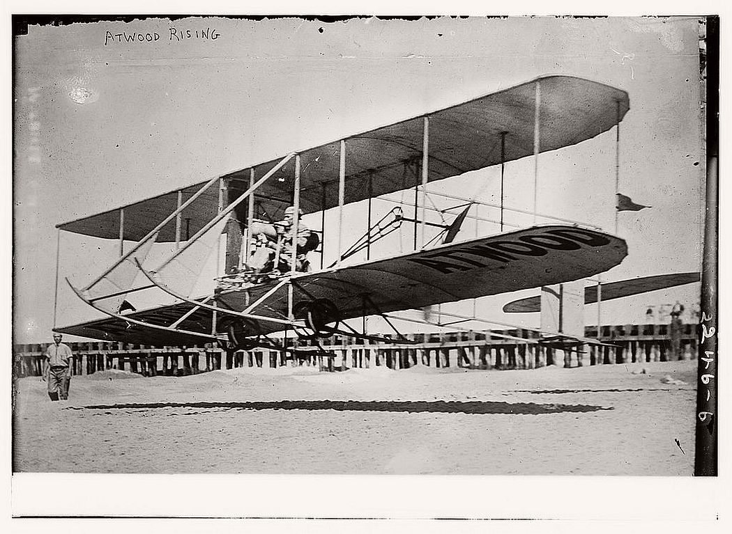 Mr Attwood taking off, ca. 1910-1915