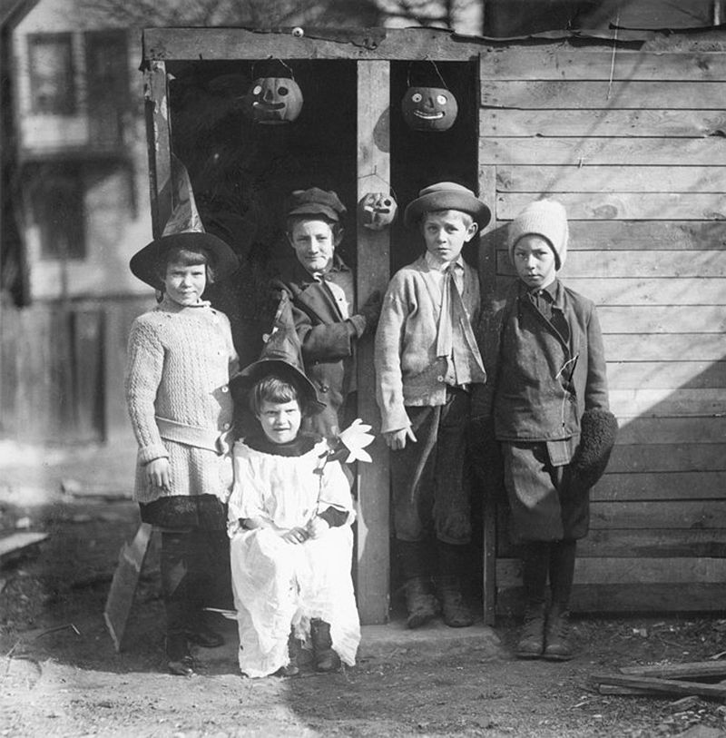 A group of children in Halloween outfits, Milwaukee, Wisc., circa 1930s. (Everett Collection)