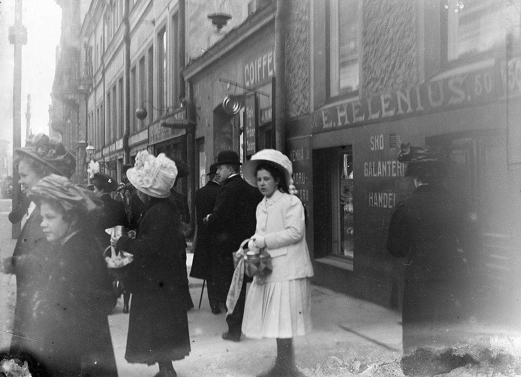 On a street in Helsinki, ca. 1890s