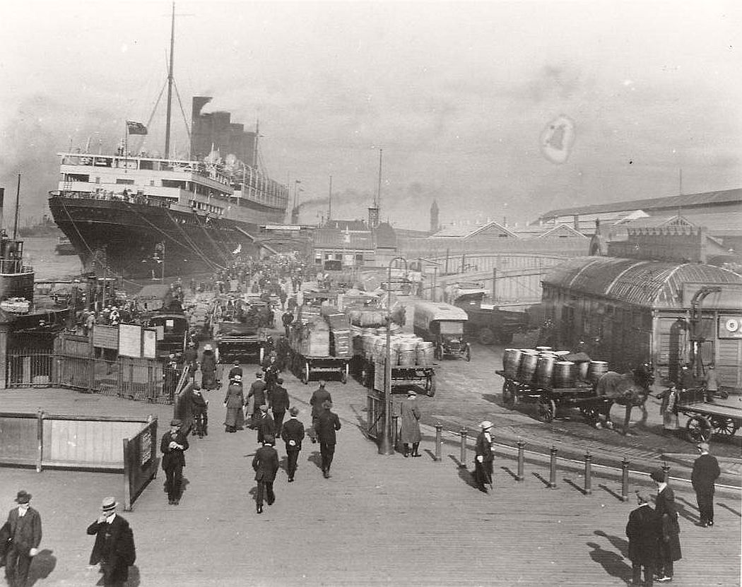 A busy day at the Pier Head, Liverpool, ca. 1900s