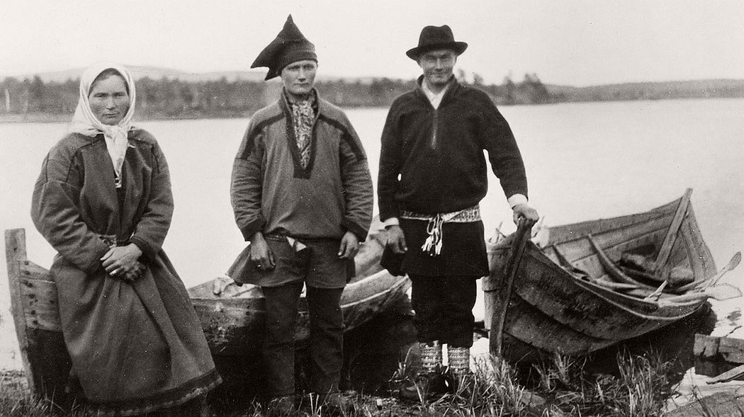 Anares, Enare or Inari Finland Sami family with boats. 1900
