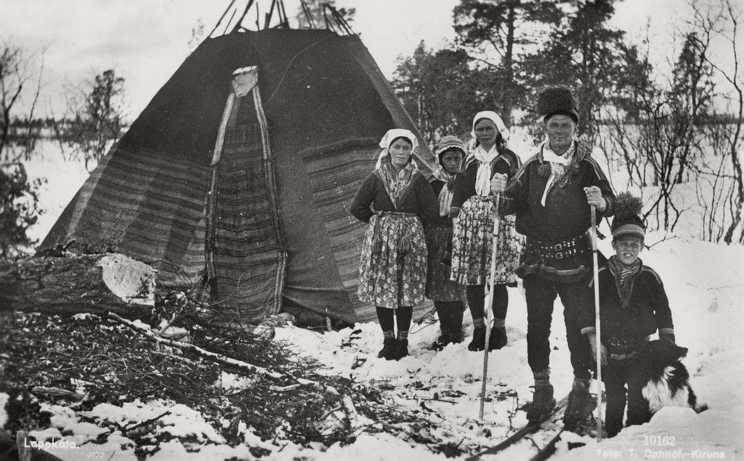 Sami family and Lavvo tent photo T. Dahllöf, Kiruna, Sweden