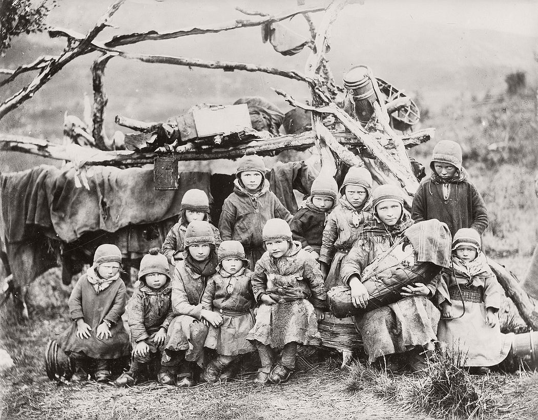A semi-nomad Sami Children Northern Sweden Norway late 1800 (likely from 1884, Bonaparte).