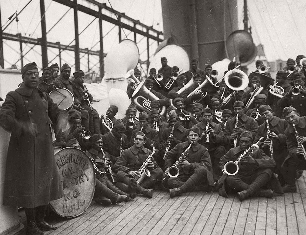 Lt. Europe and the 369th band on their way back to New York, 1919. (Corbis)
