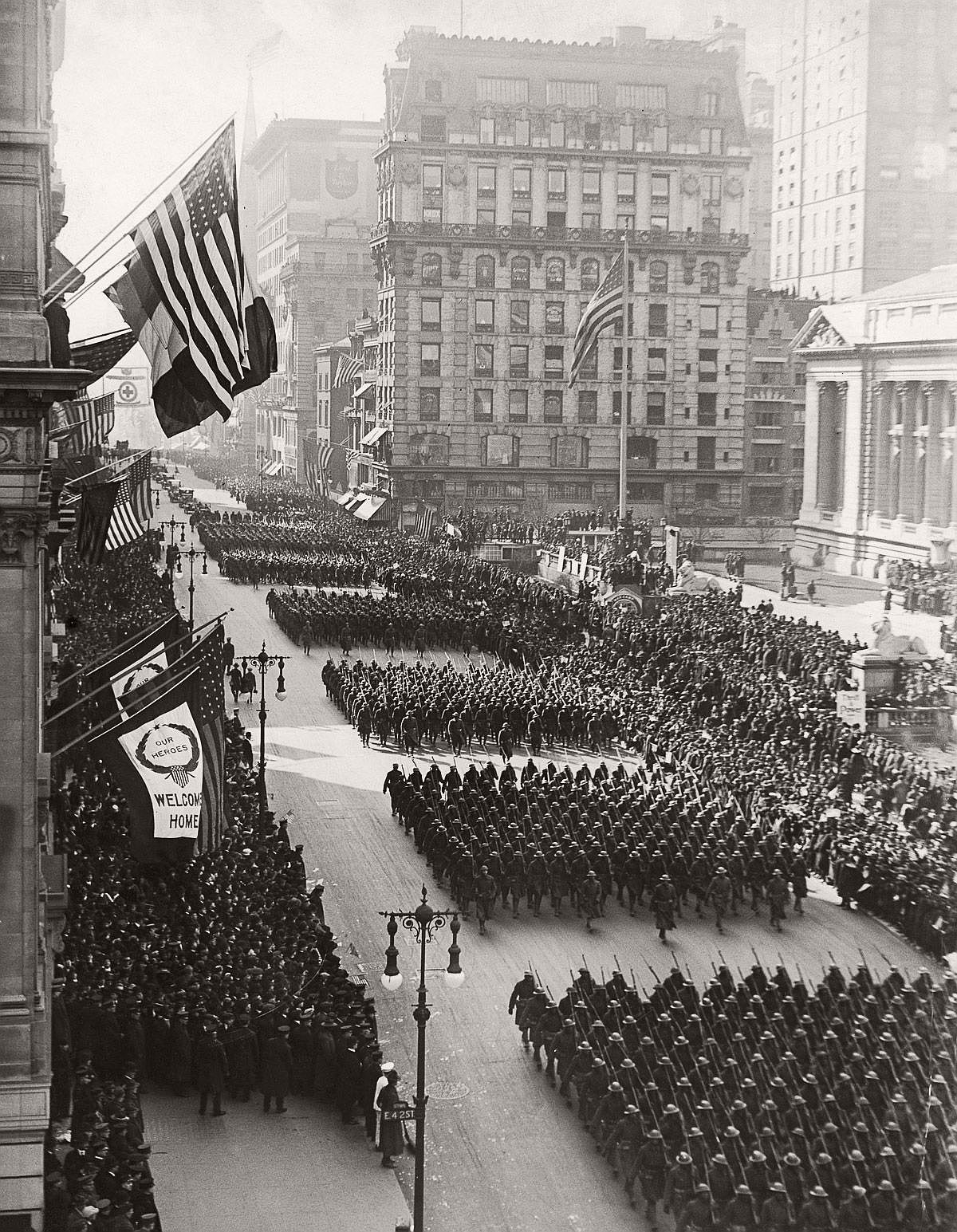 The 369th parades up Fifth Avenue upon their return to New York. Feb. 17, 1919. (FPG/Hulton Archive/Getty Images)