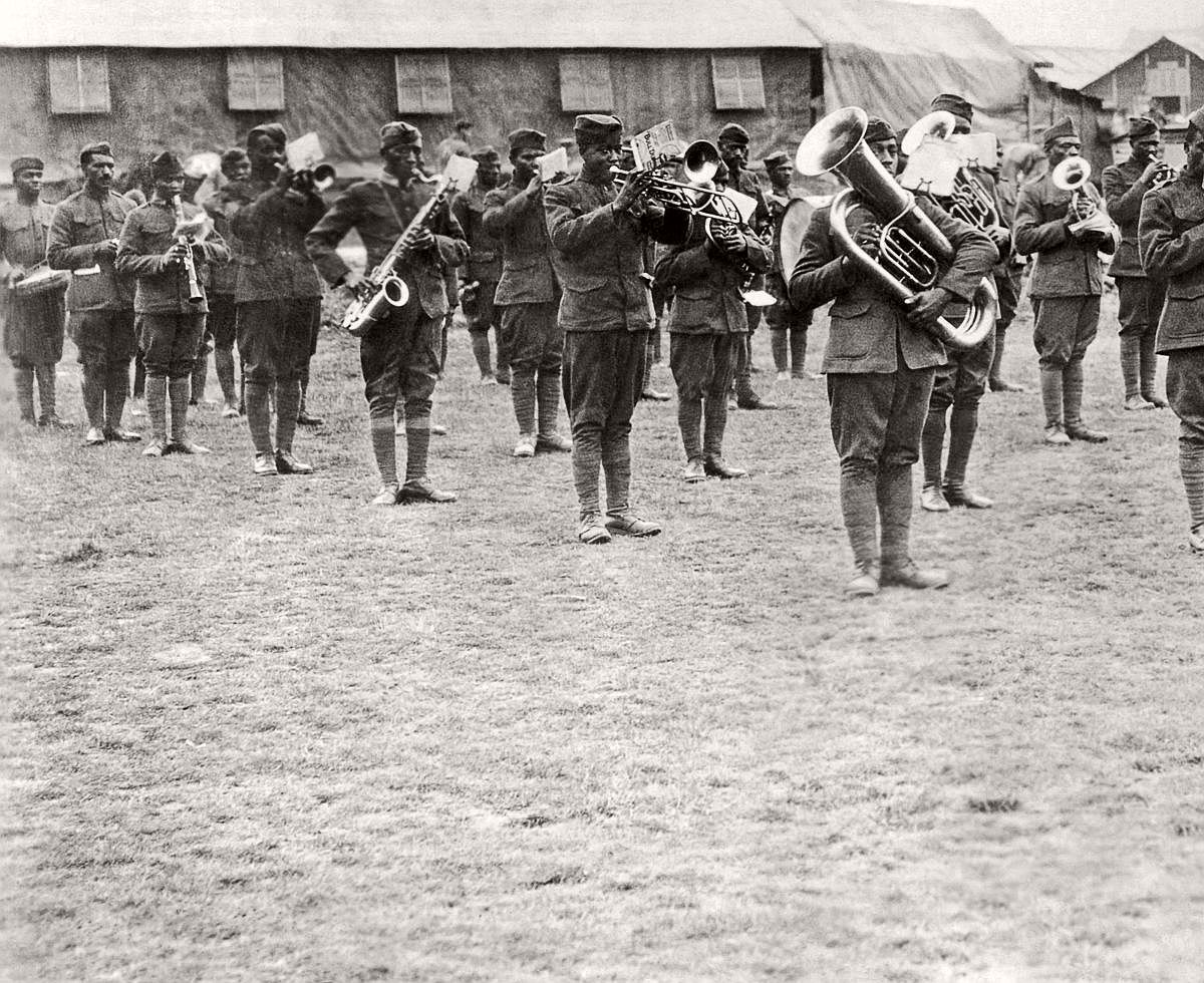 Members of the 369th Infantry band perform under the direction of Lt. James Reese Europe in France, 1918. (Underwood Archives/Getty Images)