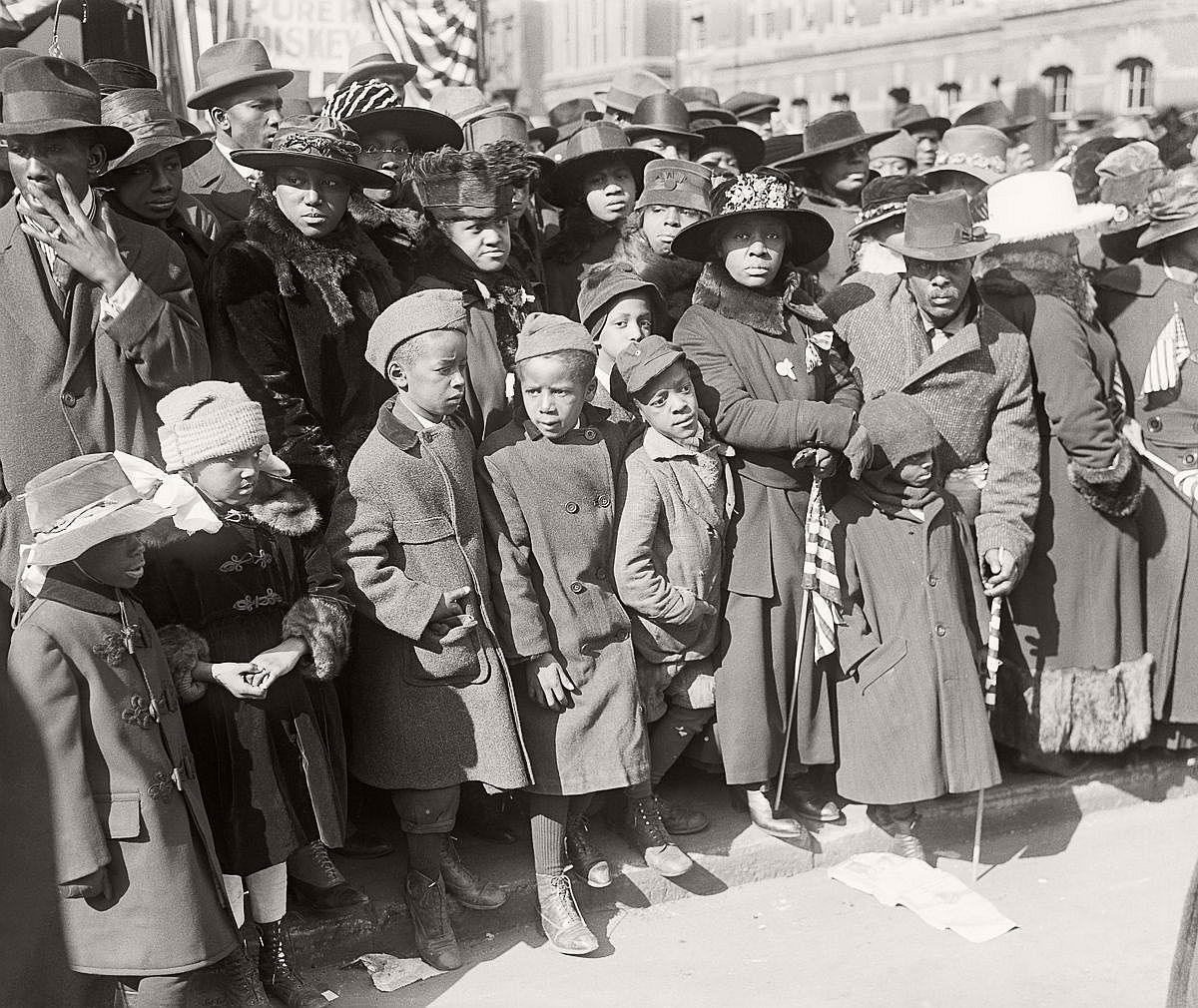 Spectators gather to watch the 369th on their return parade. Feb. 17, 1919. (Bettmann/Corbis)