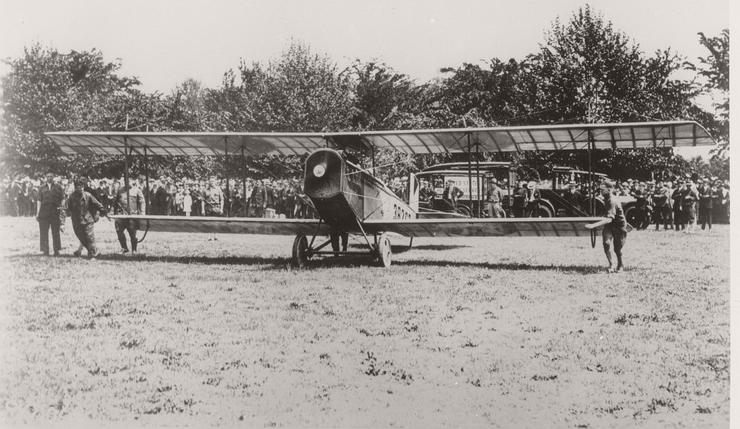 Curtis JN-4H airmail plane taking off, 1918