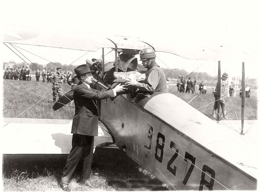 New York City postmaster Thomas G. Patten and airmail pilot Lt. Torrey Webb, 1918
