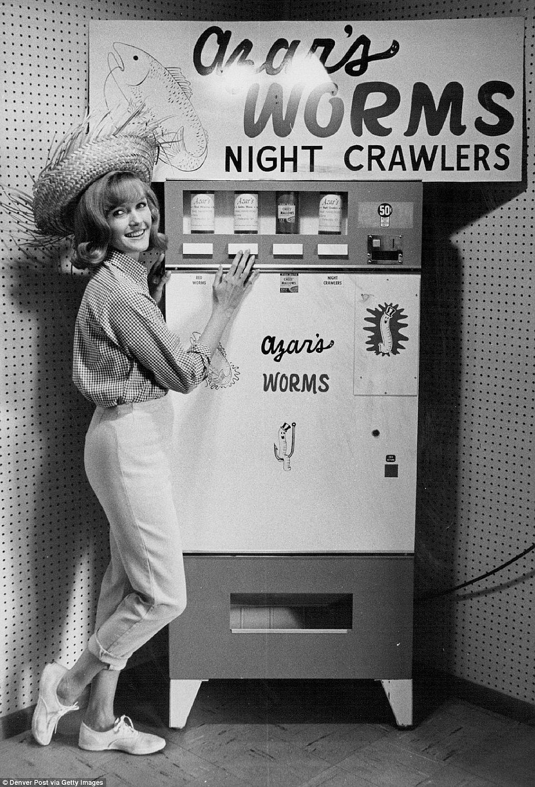 Coffee is one thing but creepy crawlies? This temperature-controlled machine sells worms to be used as bait for fishing at 50 cents a tub, 1965.