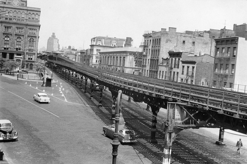 The Third Avenue Elevated line running past Cooper Union (on the left)