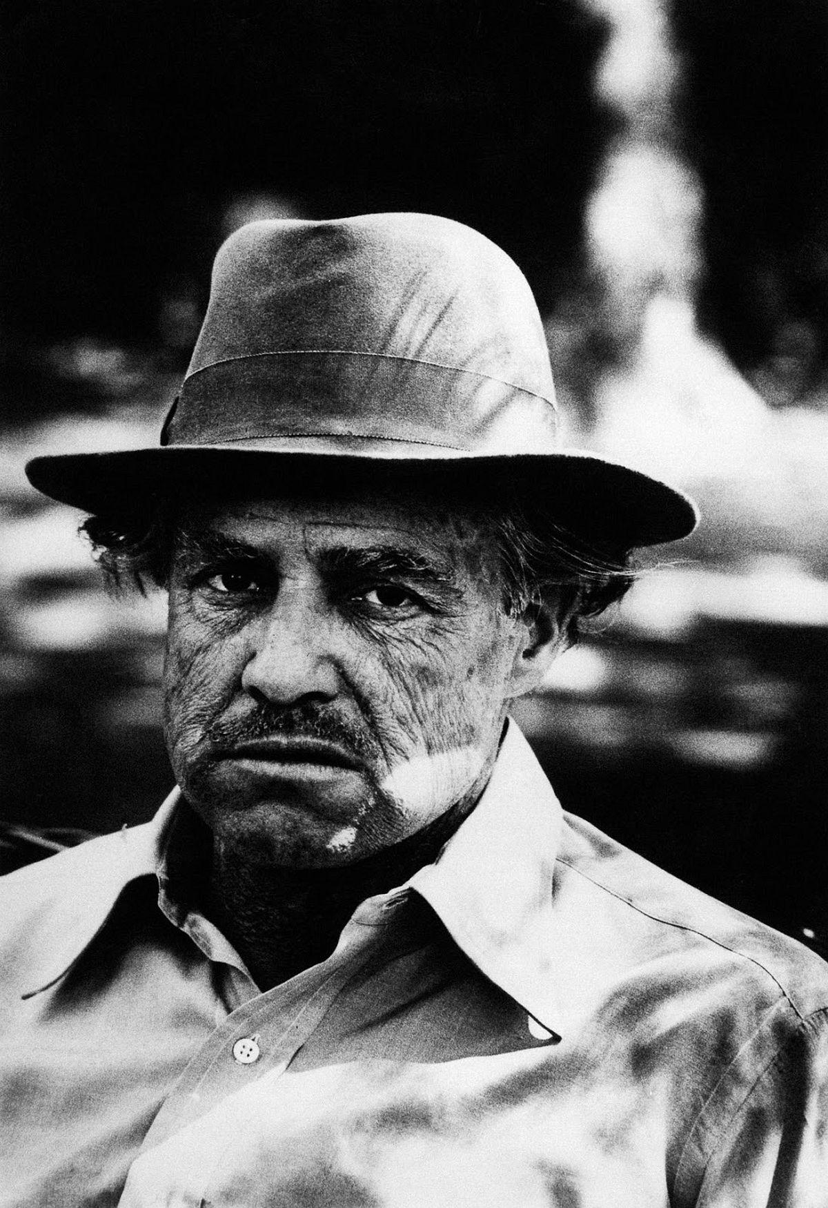 Marlon Brando in character as Don Vito Corleone.