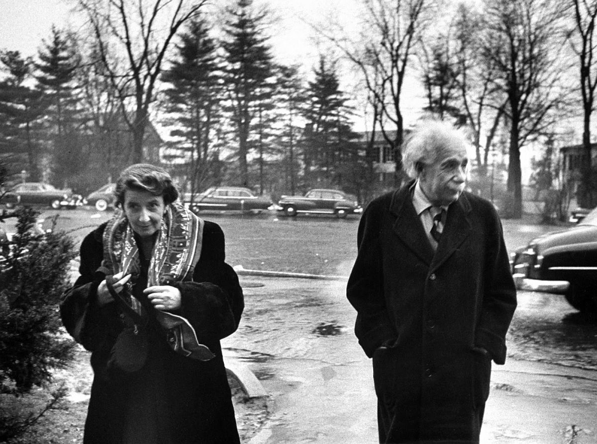 Albert Einstein with Mrs. Valentine Bargmann outside his home in Princeton, NJ, March 14, 1953. (Esther Bubley—The LIFE Images Collection/Getty Images)