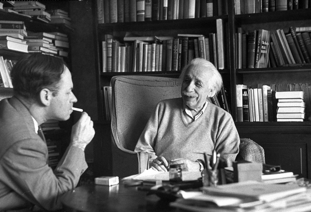 Albert Einstein in his home with Valentine Bargmann, Princeton, NJ, March 14, 1953. (Esther Bubley—The LIFE Images Collection/Getty Images)