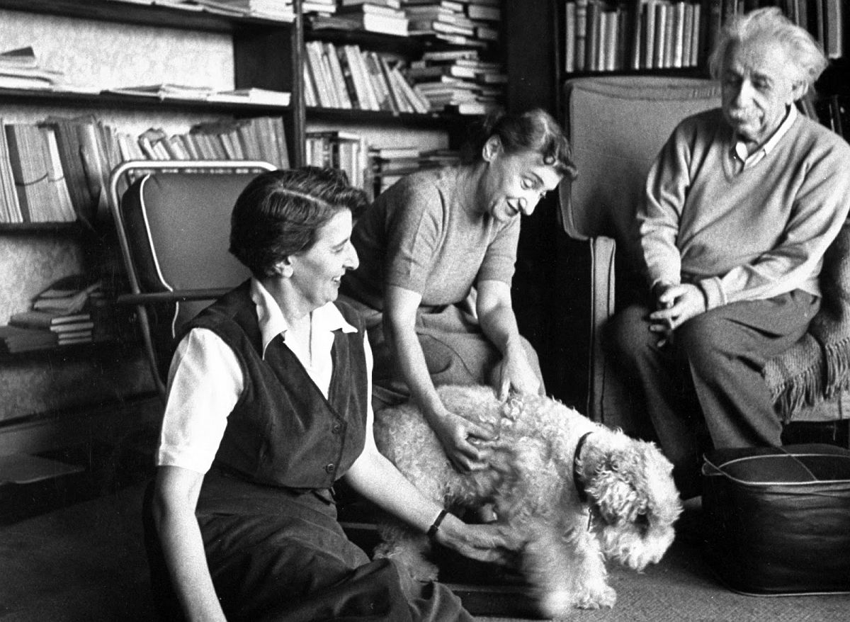 Blind terrier Chico, 14, is petted by secretary and stepdaughter, Margot, who make up Einstein's household. (Esther Bubley—The LIFE Images Collection/Getty Images)