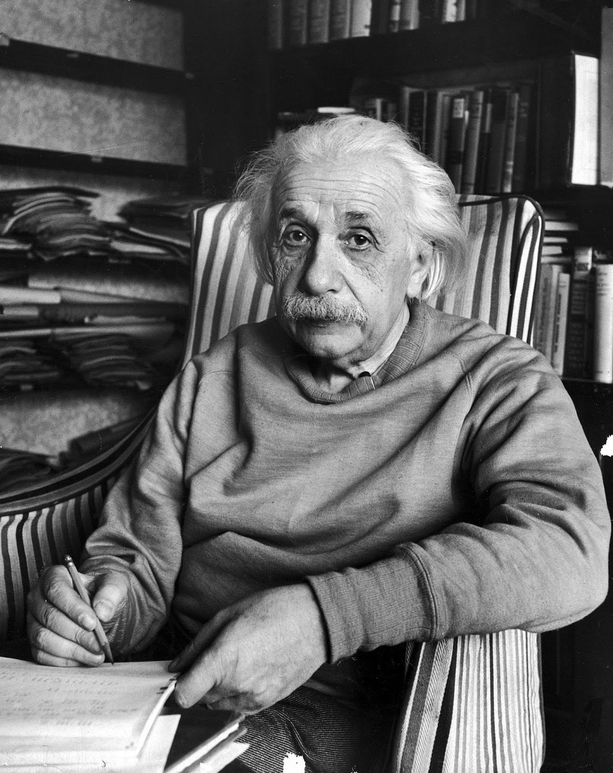 Famed scientist Albert Einstein in his study at home, 1948. (Alfred Eisenstaedt—The LIFE Picture Collection/Getty Images)
