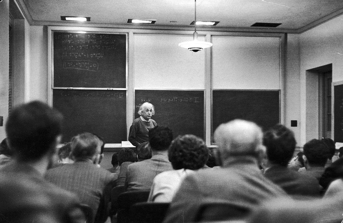 Albert Einstein, the [Institute for Advanced Study's] most famous member, gives his first lecture in its only classroom. (Alfred Eisenstaedt—The LIFE Picture Collection/Getty Images)