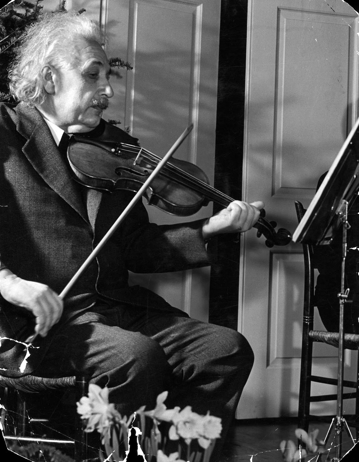 Albert Einstein plays his beloved violin, 1941. (Hansel Mieth—The LIFE Picture Collection/Getty Images)