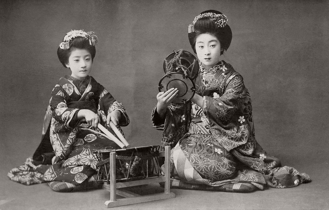 Playing the Taiko and the Kotsuzumi, ca. 1910s