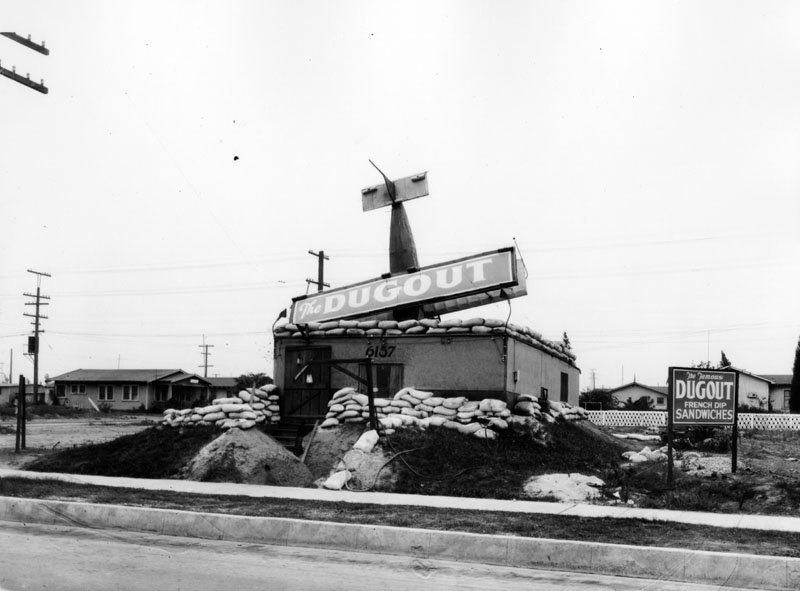 The Dugout sandwich stand had a prop plane looking like it crashed into its roof. It was located at 6157 E. Whittier Blvd., and this photo was snapped on October 10, 1929.