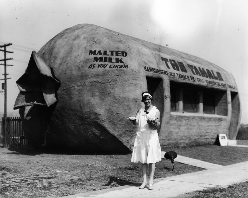 "This tamale-shaped restaurant called ""The Tamale,"" served Latino foods, malted milk and hamburgers. It's at 6421 Whittier Blvd. in East L.A."