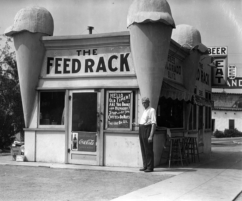 This was originally an ice cream parlor, but later became the Feed Rack restaurant during the Depression.