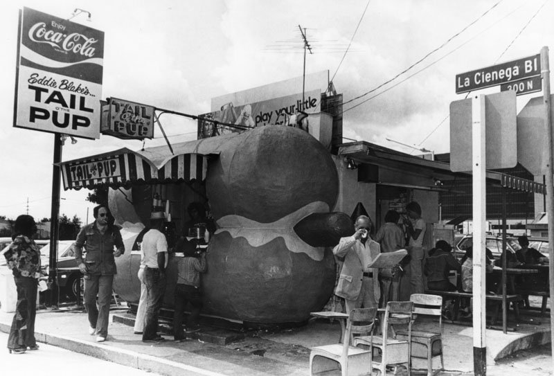 This Tail O' The Pup hot dog stand used to be at 300 N. La Cienega Blvd. in West Hollywood.