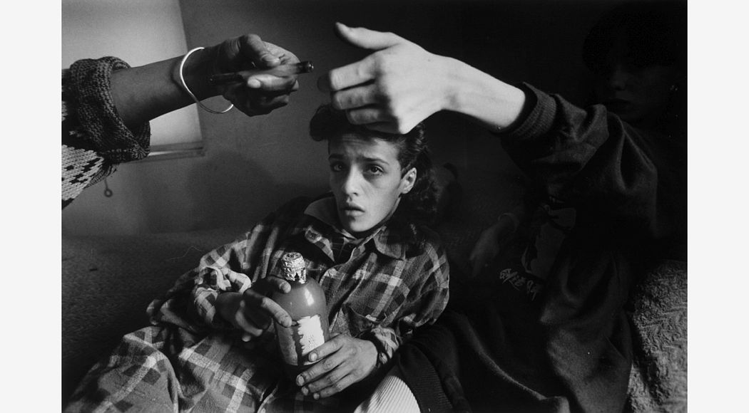 Crack Annie, New York City, 1988. Gelatin silver print. George Eastman Museum, gift of Eastman Kodak Company. © Eugene Richards