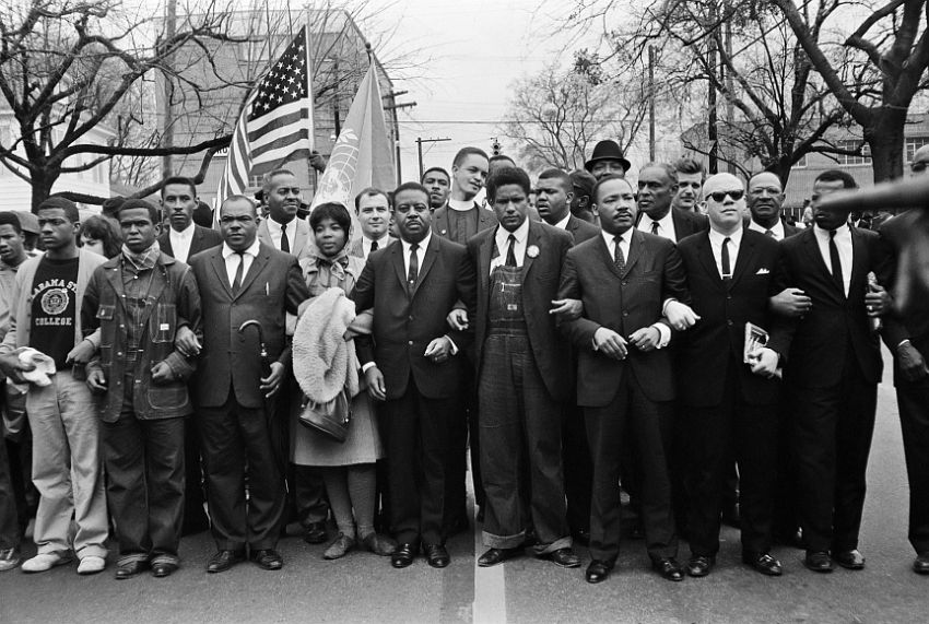 Martin Luther King Jr. and Group Entering Montgomery, 1965
