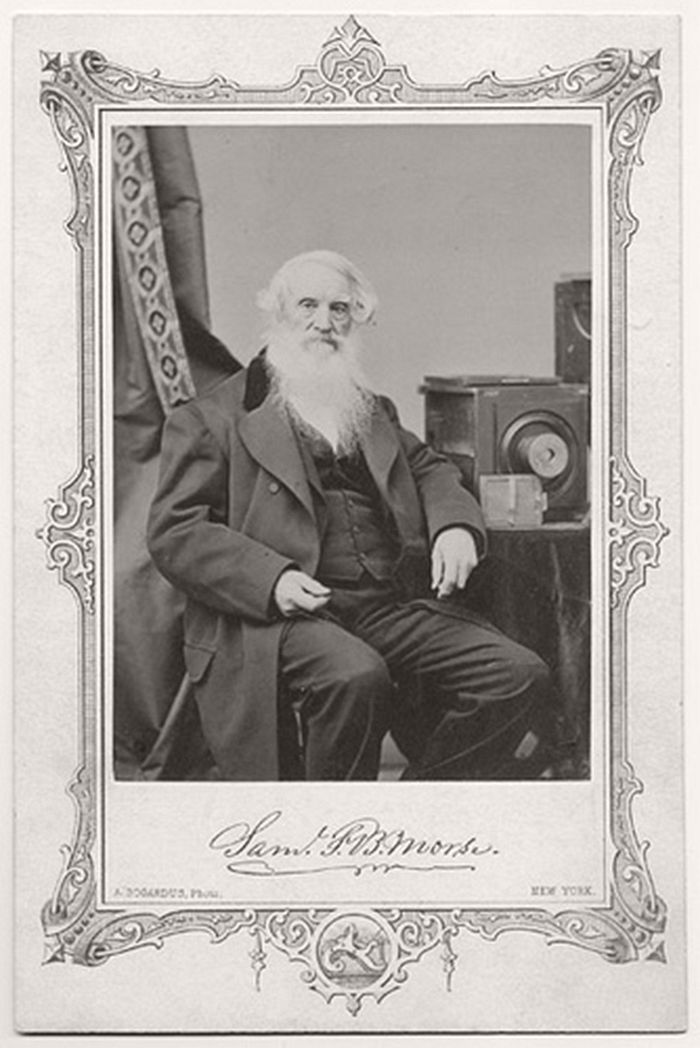 Samuel F. B. Morse with his camera. The albumen photograph by A. Bogardus of New York shows an older Morse with his daguerreotype camera beside him on a table. In addition to his accomplishments as a painter and inventor of the telegraph Morse was a very early practitioner of the daguerreotype process. He was given a demonstration by Daguerre himself in 1839 before the public presentation. Morse taught the process to a succession of eager American photographers, including Mathew Brady.