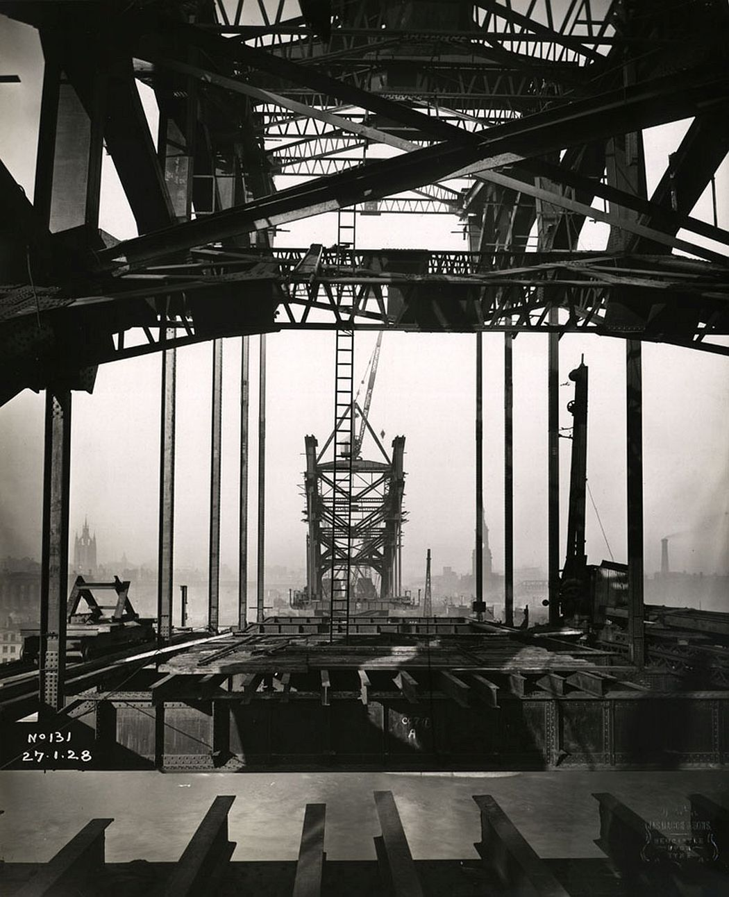 View through the girders from the Gateshead side of the Tyne Bridge to the Newcastle side, 27 January 1928