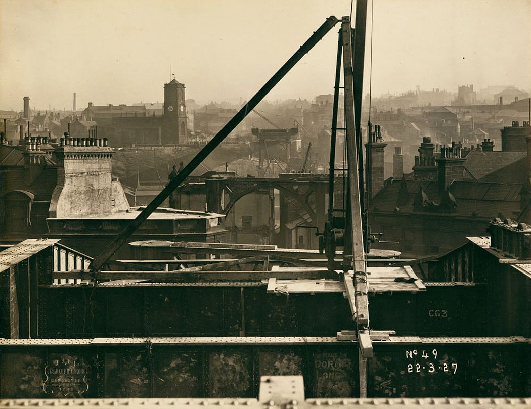 View of the Tyne Bridge in the very early stages of construction, looking from Newcastle upon Tyne over towards Gateshead, 22 March 1927